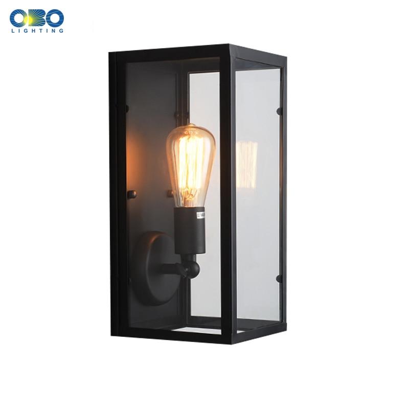 Vintage Iron Glass Box Wall Lamp Outdoor Waterproof Lighting Bedroom Wall Light E27 Lamp Holder 110
