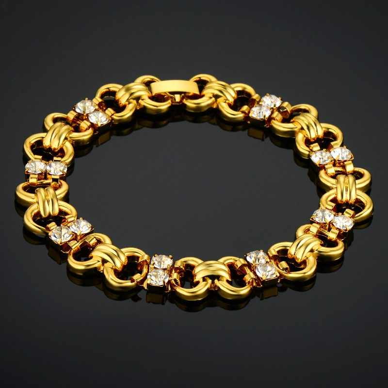 Women's Bracelet Ladies 19cm Pave Rhinestone Gold Color Chain Link Bracelet For Women Wholesale Braslet 2018 new