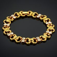 Women's Bracelet Ladies 19cm Pave Rhinestone Gold Color Chain Link Bracelet For Women Wholesale Braslet 2018 new(China)