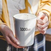 Japanese style porcelain enamel measuring cup scale milk coffee cool water cup tea beer big mug 1000cc home breakfast drinkware