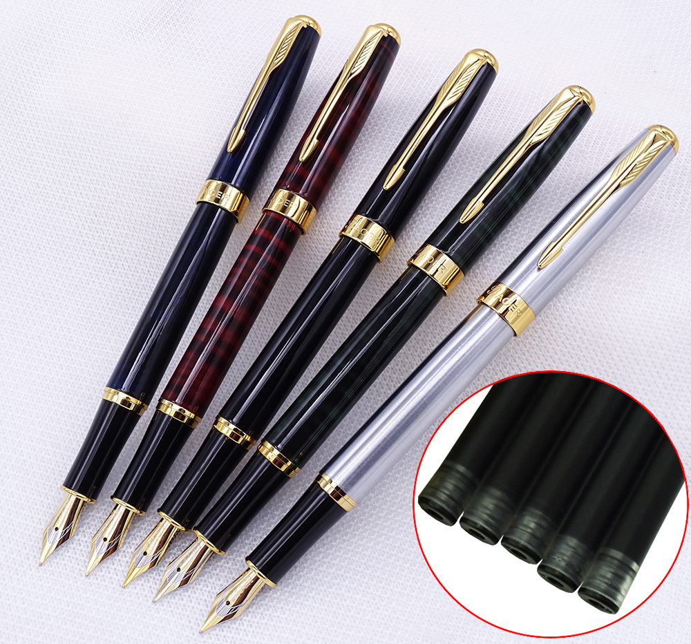 5PCS Set Baoer 388 Metal Fountain Pen with Ink Refill Converter Sac Golden Arrow Clip Medium Nib 0.7mm Ink Pen for Office School classic student baoer ink pen 3035 stainless steel metal silver medium nib fountain pen
