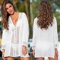 Verão sexy mulher capa ups rendas crochê biquíni blusa branca oco para fora com decote em v praia cover-up swim wear