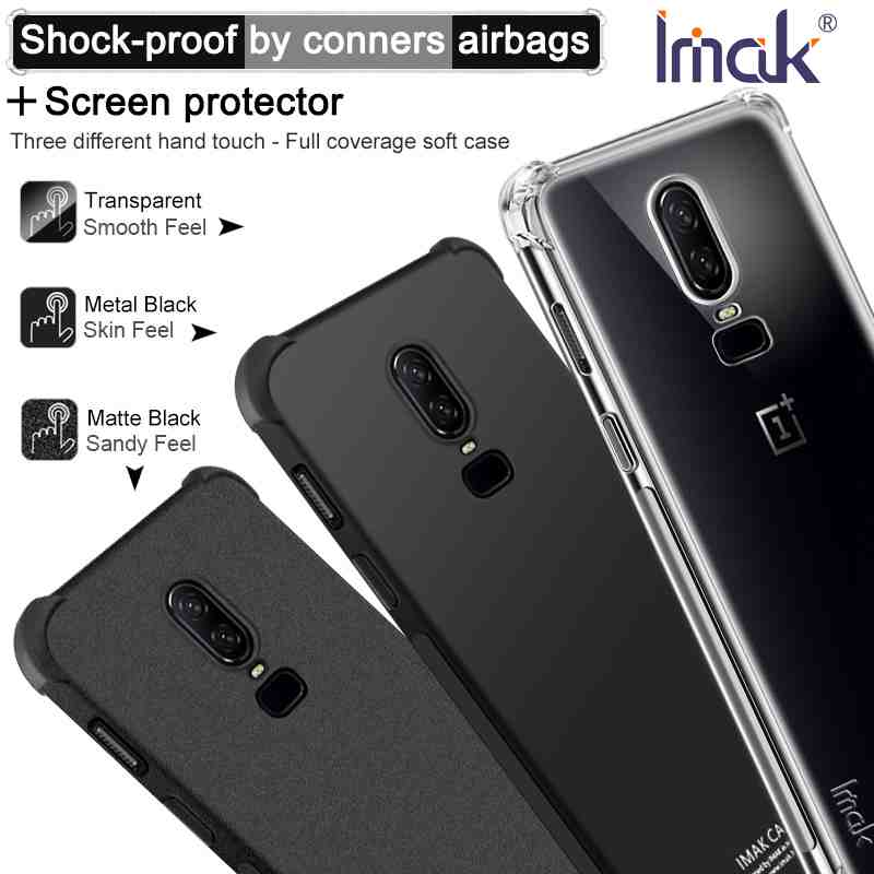 """OnePlus 6 Case Original Imak Cover Silicone Soft TPU Shockproof Case One Plus 6 A6000 Luxury Back Cover + Screen Protector 6.28"""""""