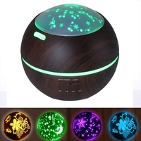 Wood Aroma Diffuser 150ml Aromatherapy Essential Oil Diffuser With Color Projector Light Ultrasonic Air Humidifier Mist