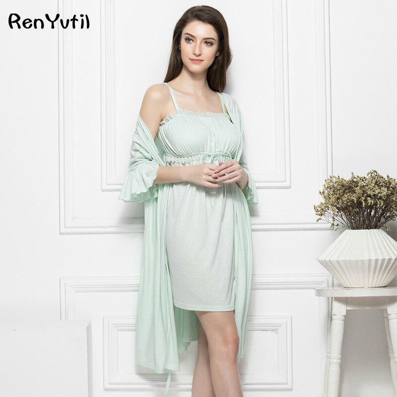 1b0273064 RenYvtil Women Robe Elegant Princess Royal Victorian Sexy Sleepwear White  Lace Nightgown Long Lady Wedding Party Dress Wholesale