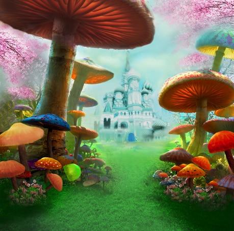 8x8ft Girl Kids Alice Wonderland Mushroom Passage Castle
