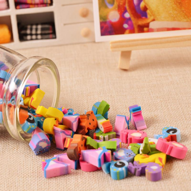 12-18 Pcs Kawaii Mini Pencil Fruit Erasers Bottle Rubber Number Eraser For Kids Students Item Gifts Stationery School Supplies