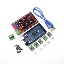3D Printer 1Pcs Mega 2560 R3 + 1Pcs RAMPS 1.4 control panel+ 5Pcs A4988 Stepper Motor Drive Carrier Reprap