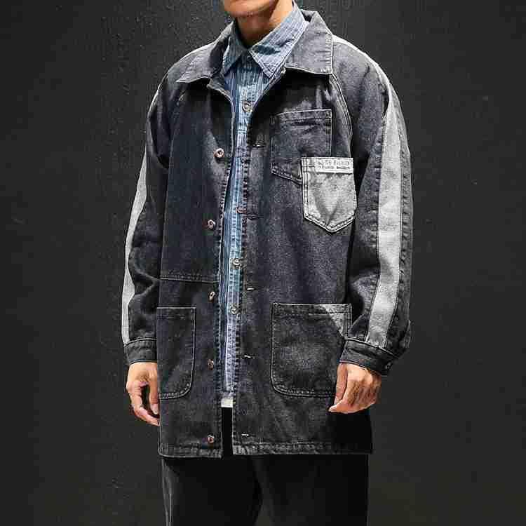 Palangre poche Patchwork Vintage corvée manteau hommes Demin veste en détresse Jean hauts