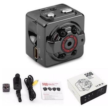 SQ8 1080P Mini Camera 360 Degree Rotation Clip Infrared Night hidden Motion Detection micro camera espia mini kamera dv