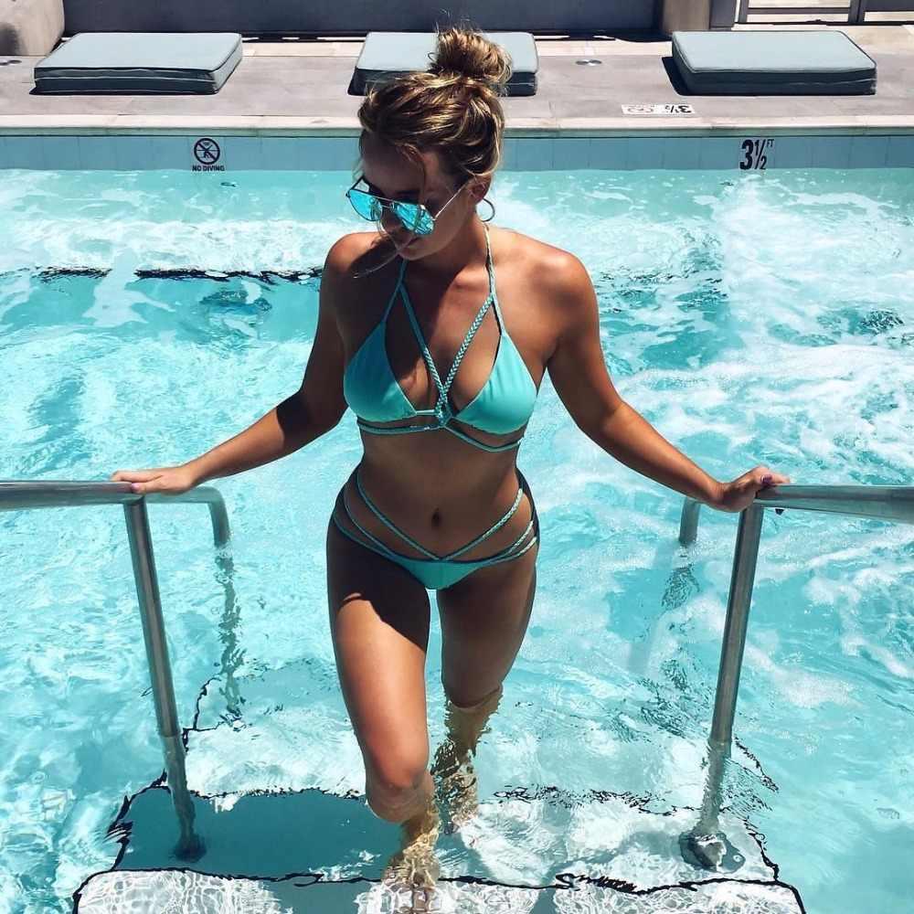 Bandage Halter Bikini Set Padded Sexy Lace Up Brazilian Bathing Suits Thong Bikini String Hollow Out African Swimwear Women