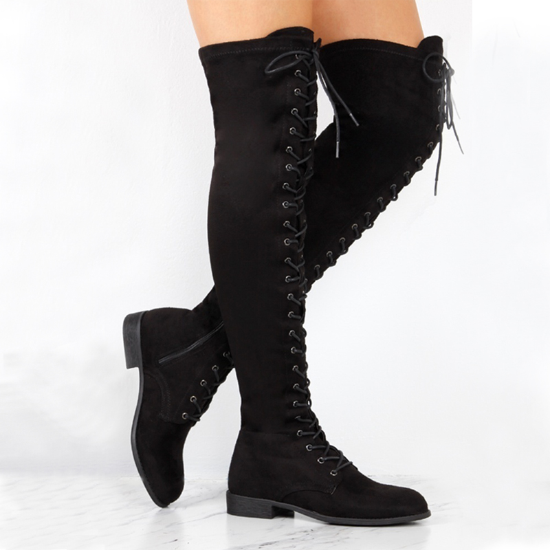 Parkside Wind Women Boots Shoes Sexy Lace Up Over Knee Boots Women With Square Heel Rubber Boots Plus Size 34-43 PA401446
