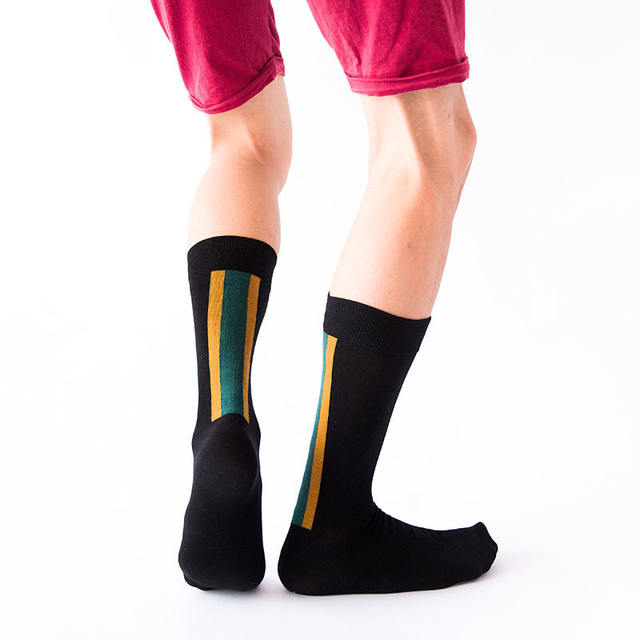 PEONFLY Fashion New Striped Plaid Polka Dot Leaves Pattern Novelty Art Man Socks Casual Harajuku Ventilation Cotton Socks Autumn