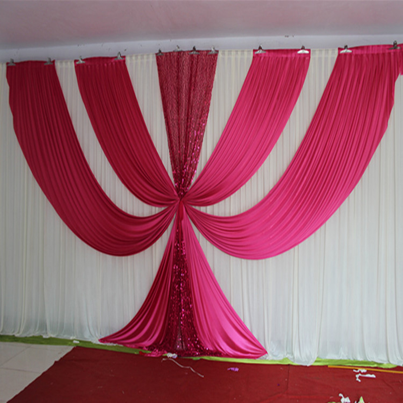 2017 New Design 3M*6M Fusia Ice Silk sequin swags and drapes wedding backdrop hot pink stage background event party decoration2017 New Design 3M*6M Fusia Ice Silk sequin swags and drapes wedding backdrop hot pink stage background event party decoration