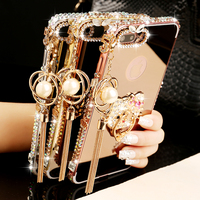 2018 New Luxury Girl Woman Lady Metal Aluminium Diamond Phone Case For iPhone 5 5S 6 6S 7 8 Plus X Mirror Cover with Ring Strap
