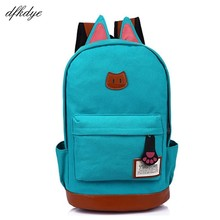 Teenage Girls Canvas Backpack Cartoon Cat Ears Back Pack Casual Candy Color Women School Bag For Female Cute Backpacks Bags цены