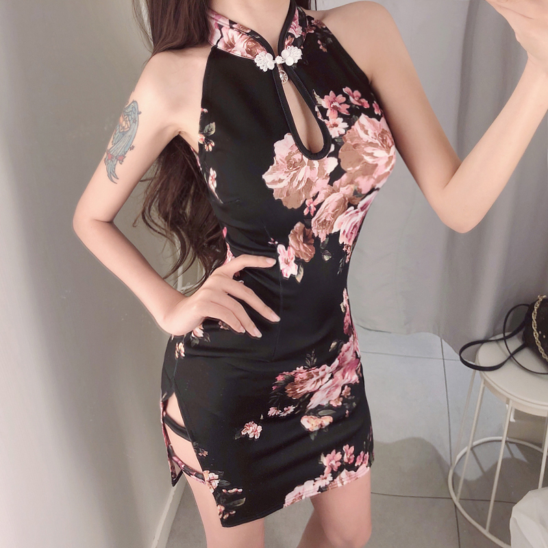 2019 Sexy Nightclub Embroidery Cheongsam Lingerie Women Lace Perspective Chinese Dress Qipao Split Suit