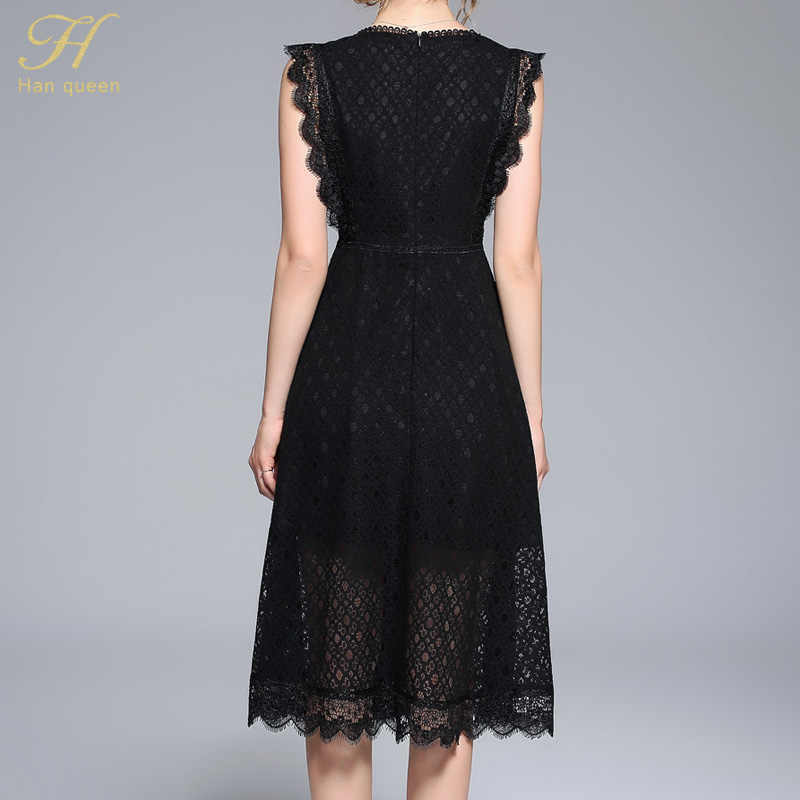 21a9cdc434b78 ... H Han Queen Women Elegant Mesh Patchwork Black Lace Dress New Arrival 2018  Autumn O-
