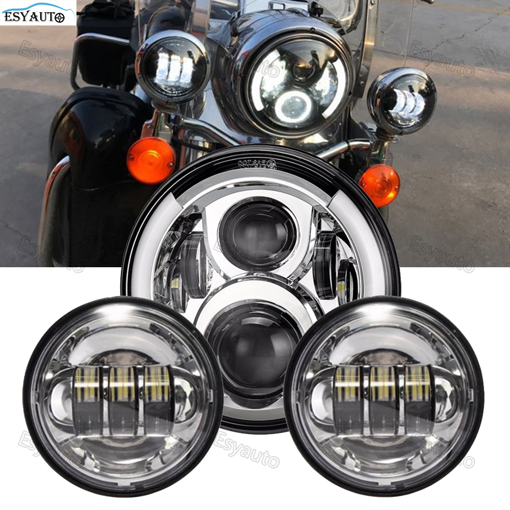 Motorcycle 7inch LED Headlight Angel eye White DRL Amber Turning color 4.5 Inch LED Fog Light Protection for Harley Davidson ownsun innovative super cob fog light angel eye bumper cover for skoda fabia scout