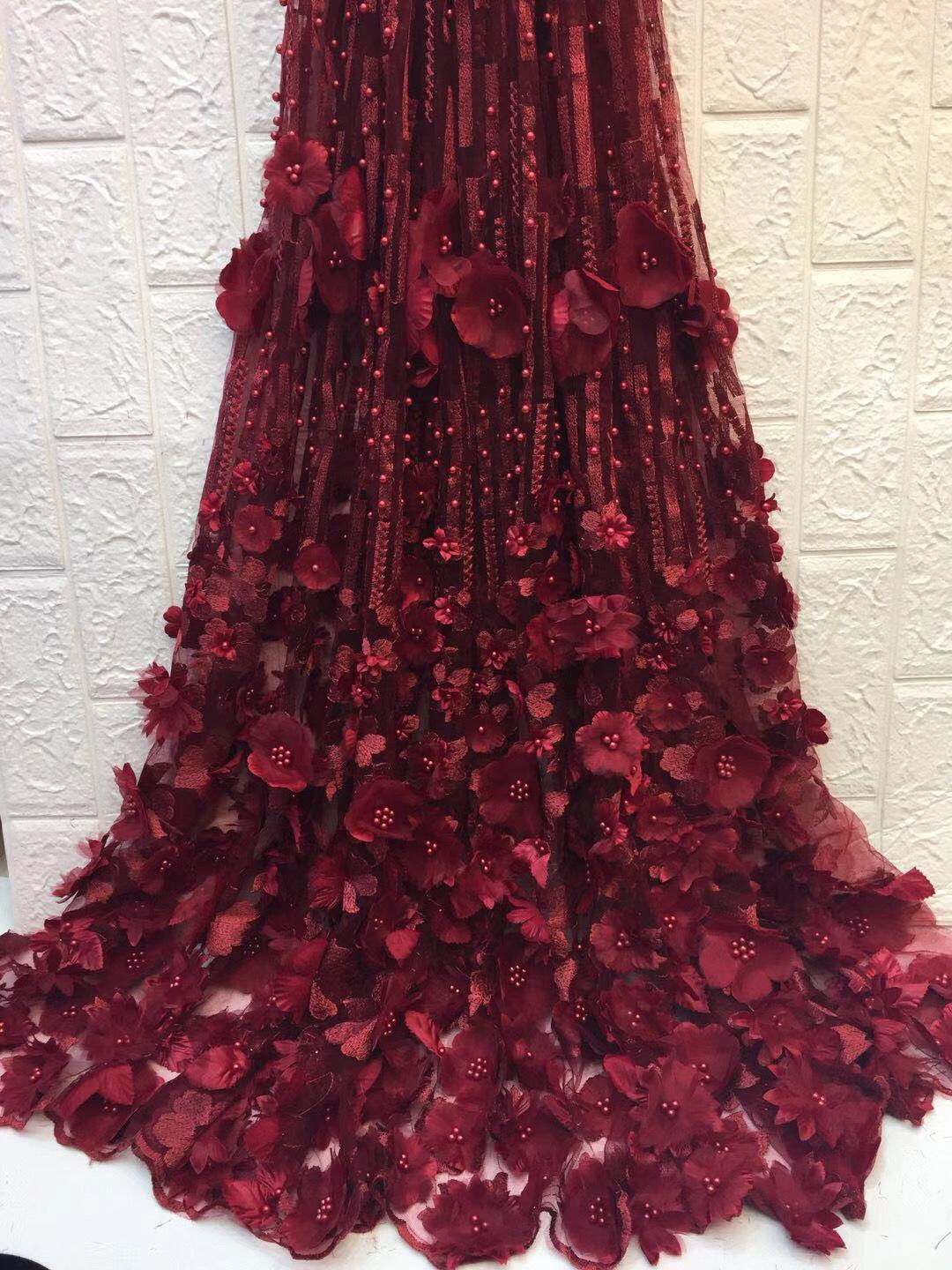 Wine Bridal Lace Fabric High Qualith Handmade Beaded 3d African Lace Material Embroidery Lace Trim For