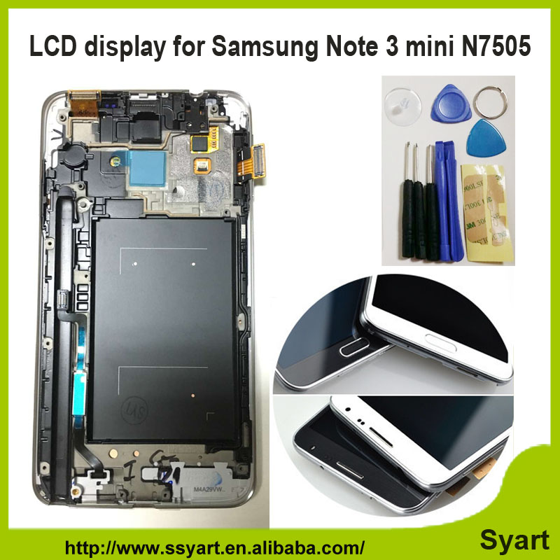 N7505 Sreen With Frame Touch Digitizer Full LCD display Assembly white gray in stock For Samsung Galaxy Note 3 Neo Mini Lite