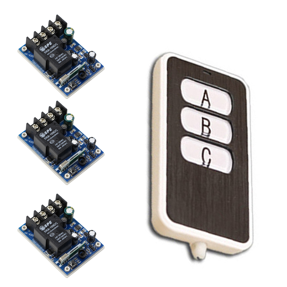 Free Shipping DC 12V 24V 36V 48V 1 CH RF Wireless Remote Control 3 * Receivers & 1* Transmitter Square with 3 Buttons free shipping 1000w 36v dc brushless