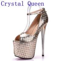 Crystal Queen Women Sexy Prom Wedding Shoes Peep Toe Platform 19 CM Extreme High Heels Pumps