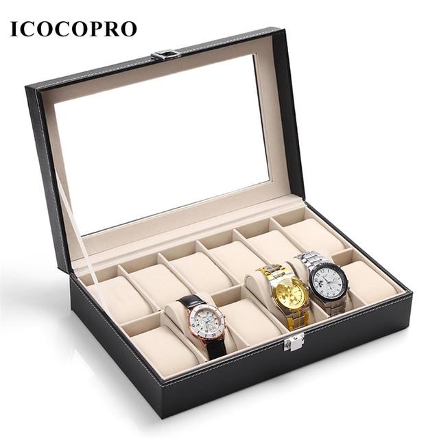 ICOCOPRO 10 Grid Watch Box Travel Jewelry Packaging Organizer