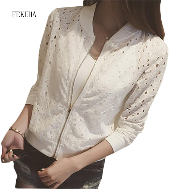 Bomber Jacket White Black Lace Sunscreen Cardigan Shirt Short Women AutumnThin Hollow Out Coat Female Casual Outwear