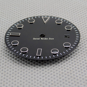 Image 4 - 28.5mm/31.5mm Sterile Black Dial Kit Mingzhu 2813/3804,Miyota 82 Series Movement Watch Accessory