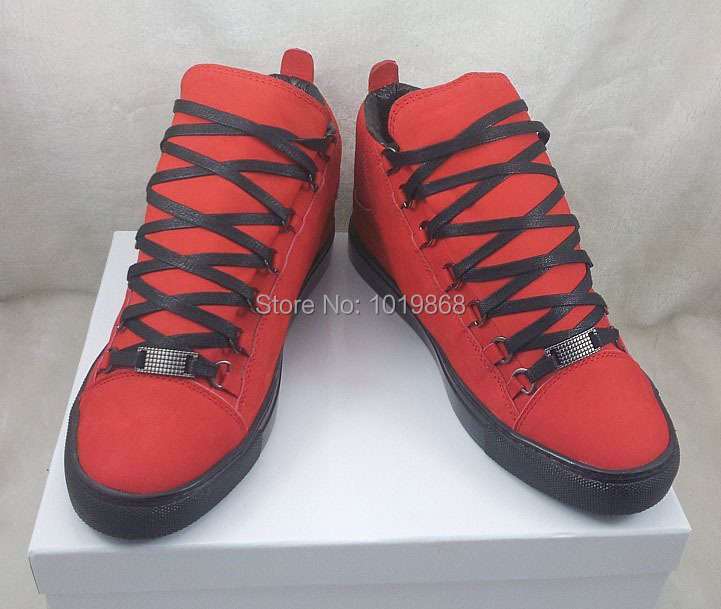 f1204c99640b5 West arena sneakers red leather high top sneakers men Fall thick sole  motorcycle boots size 39 to 46 celebrity designer shoes on Aliexpress.com