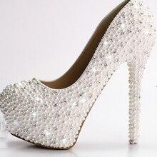 Luxus voll Perlen 4 Zoll high heel dame formale Jeweled frauen Perlen Braut Abend Hochzeit Prom Party Brautjungfer schuhe