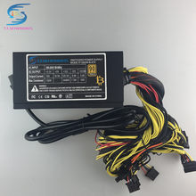 free ship 1600w power supply for 6 GPU ethereum Miner Power Supply For Bitcoin Miners support 6 graphics Card RX470 RX480 RX570(China)