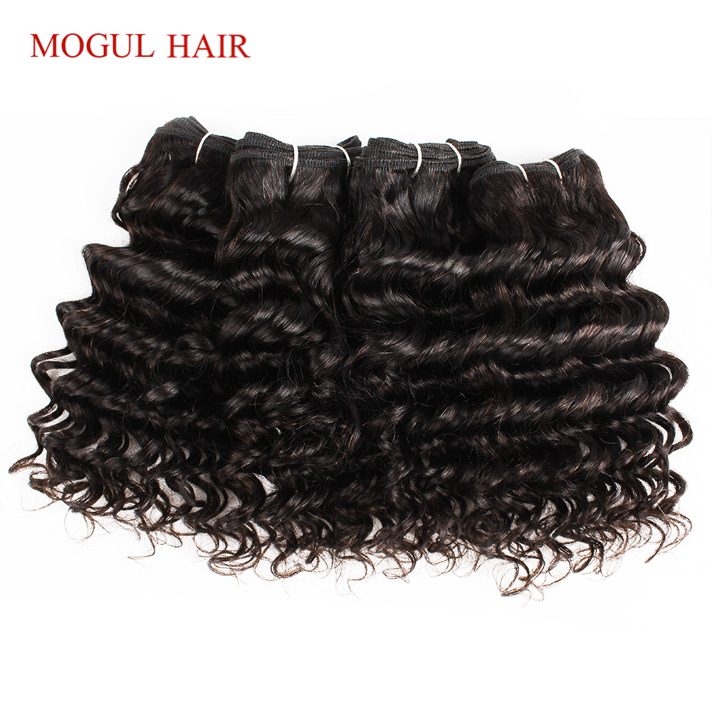MOGUL HAIR 4 Bundles Brazilian Deep Wave Natural Black Color 50g/pc Dark Brown Non Remy Human Hair Short Bob Style