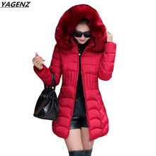 Winter Cotton Jacket Women 2017Fashion Hooded Fur Collar Thicken Warm Cotton Down Jacket Plus Size 4XL Women Clothing YAGENZ 412