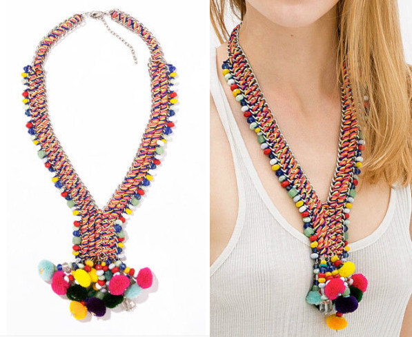 JC100 NEW Fashion ZA Design ETHNIC POM POM BEAD NECKLACE Colorful Yarn Ball Pendant Collar For Women No Min Order