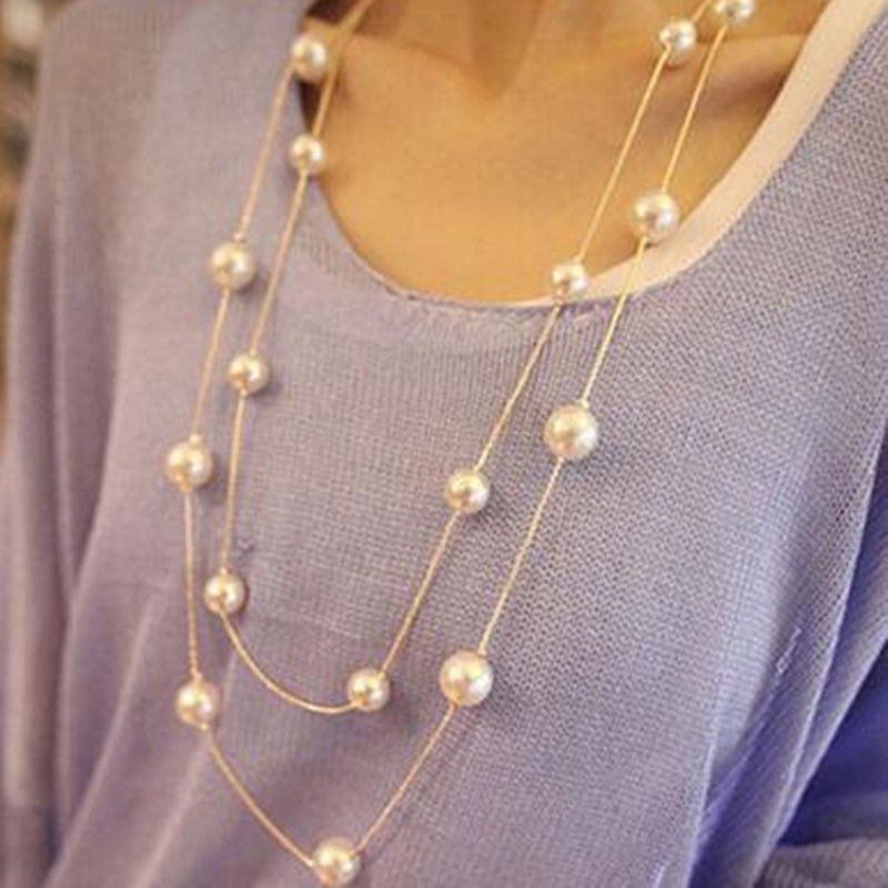 GHRQX Hot Sell Multi layer fashion double pearl necklace ...