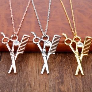 Парикмахерская ножницы из горного хрусталя ножницы подвески ожерелья аксессуары для мужчин ювелирные шейные украшения ожерелье