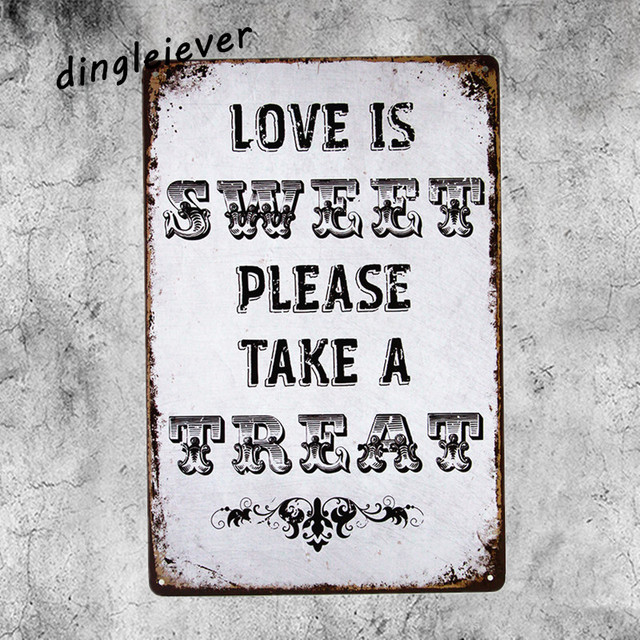 Love Is Sweet Please Take A Treat Coffee Signs Kitchen Decor Metal Wall Art Painting