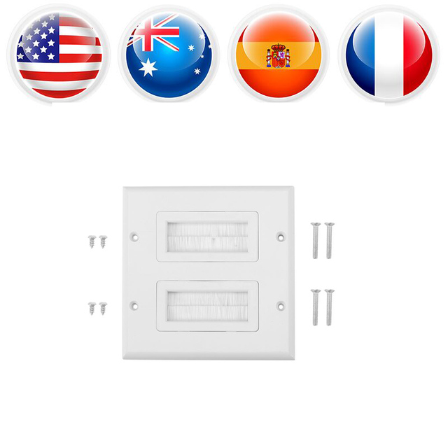 Brush Wall Plate Plastic Anti-dust Brush Cable Wall Plate Port Insert Cover Outlet Mount Multimedia Panel Single two Ports