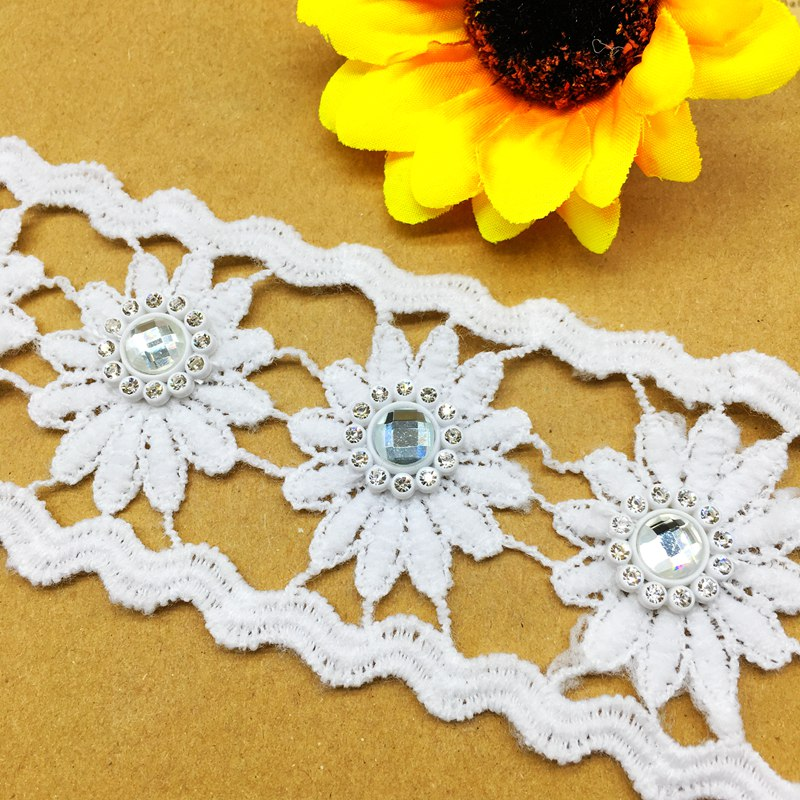 1 Yard White Vintage Wide Crochet Lace Trim Embroidery Ribbon Sewing Craft