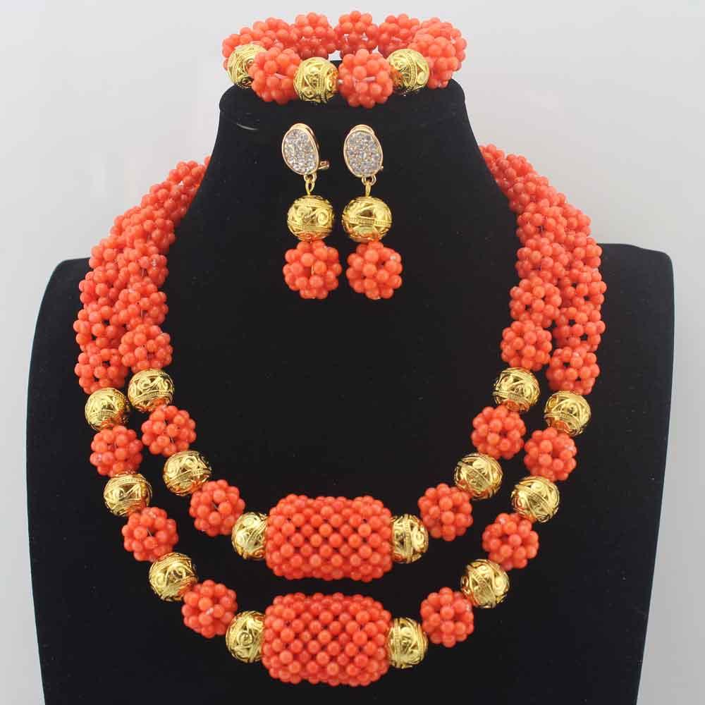 moda novas contas de coral colar de jóias de casamento nigeriano