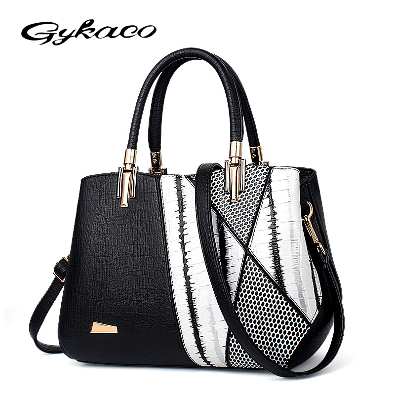 Gykaeo Luxury Handbags Women Bags Designer High Quality PU Leather Handbag 2017 Winter Mother Casual Tote Messenger Shoulder Bag women messenger bags designer handbags high quality 2017 new belt portable handbag retro wild shoulder diagonal package bolsa