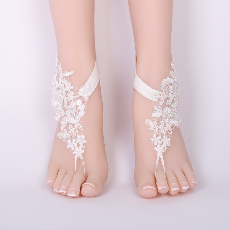 CHICVIE Bridal Summer Crochet Barefoot Sandals Lace Anklets Wedding Prom Party Ankle-Length Women Bare Feet Sandals SAN190061 1