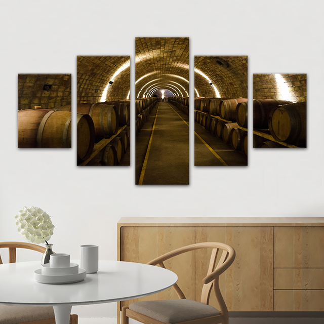 Cuadros decorativos 5 Panel Wall Art lienzo impreso gran bodega ...