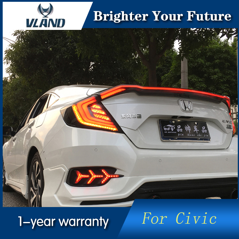 Vland LED Tail Lamps for Honda Civic 2016 2017 LED Tail Lights Cross Rear trunk lamp cover drl+signal+brake+reverse