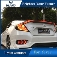 Vland LED Tail Lamps for Honda Civic 2016 2017 LED Tail Lights Cross Rear trunk lamp cover drl+signal+brake+reverse
