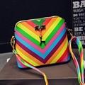 2017 Rainbow shell bag summer beach Famous brand fashion PU leather women handbag rivet ladies shoulder bag