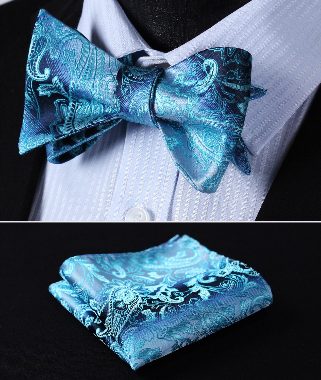 BP802QS Aqua Blue Paisley Bowtie Men Silk Self Bow Tie Handkerchief Set