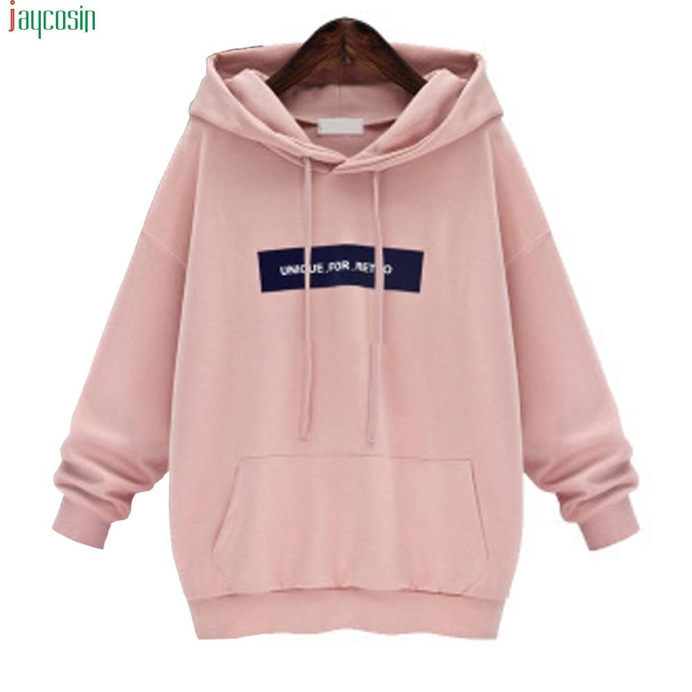 JAYCOSIN Fashion Women's Sweatshirt Loose long Sleeve Hoodie Sweatshirt Jumper Letter Pullover Hoodies For Girls Top plus size